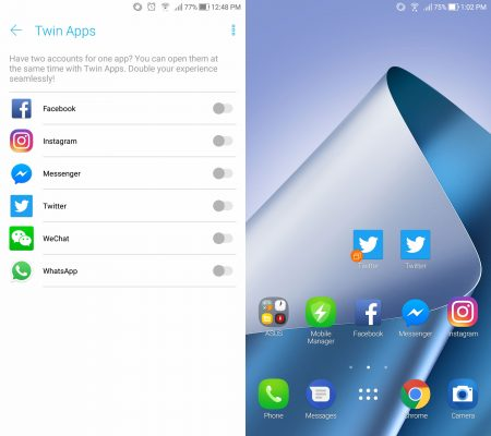 Twin apps on ZenFone 4