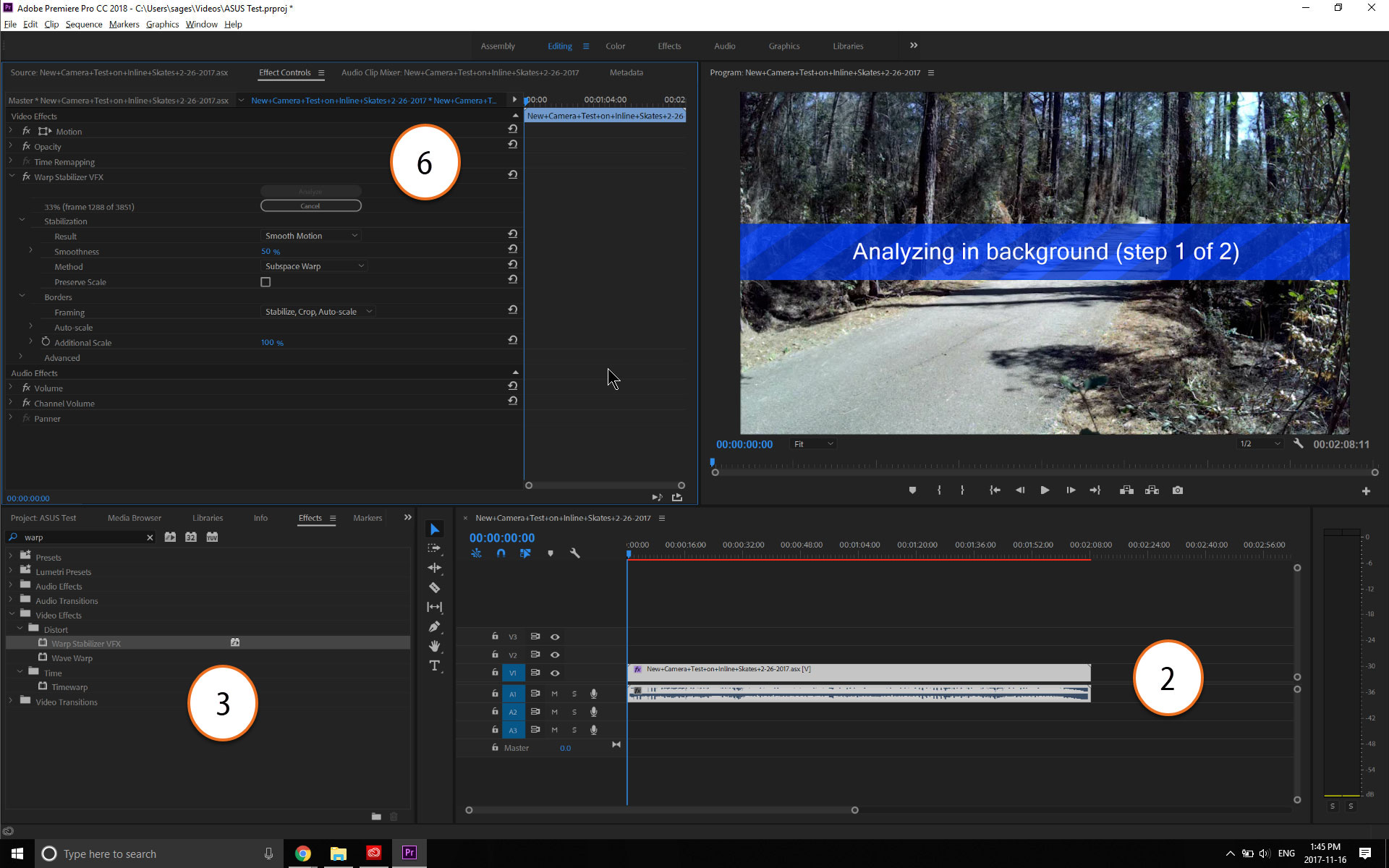 Using Warp Stabilizer to fix shaky video in Premiere Pro