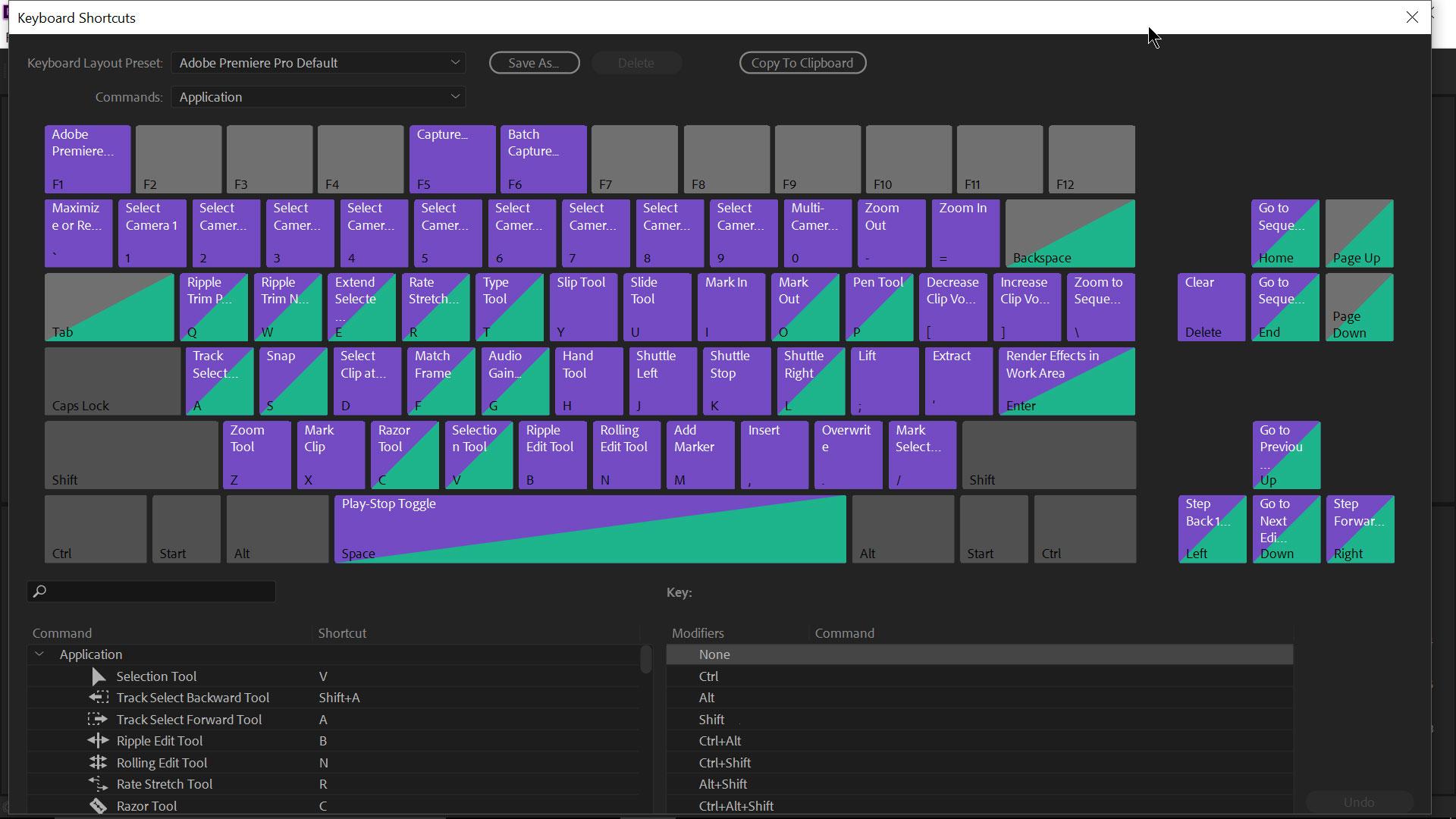 Premiere Pro shortcut keys
