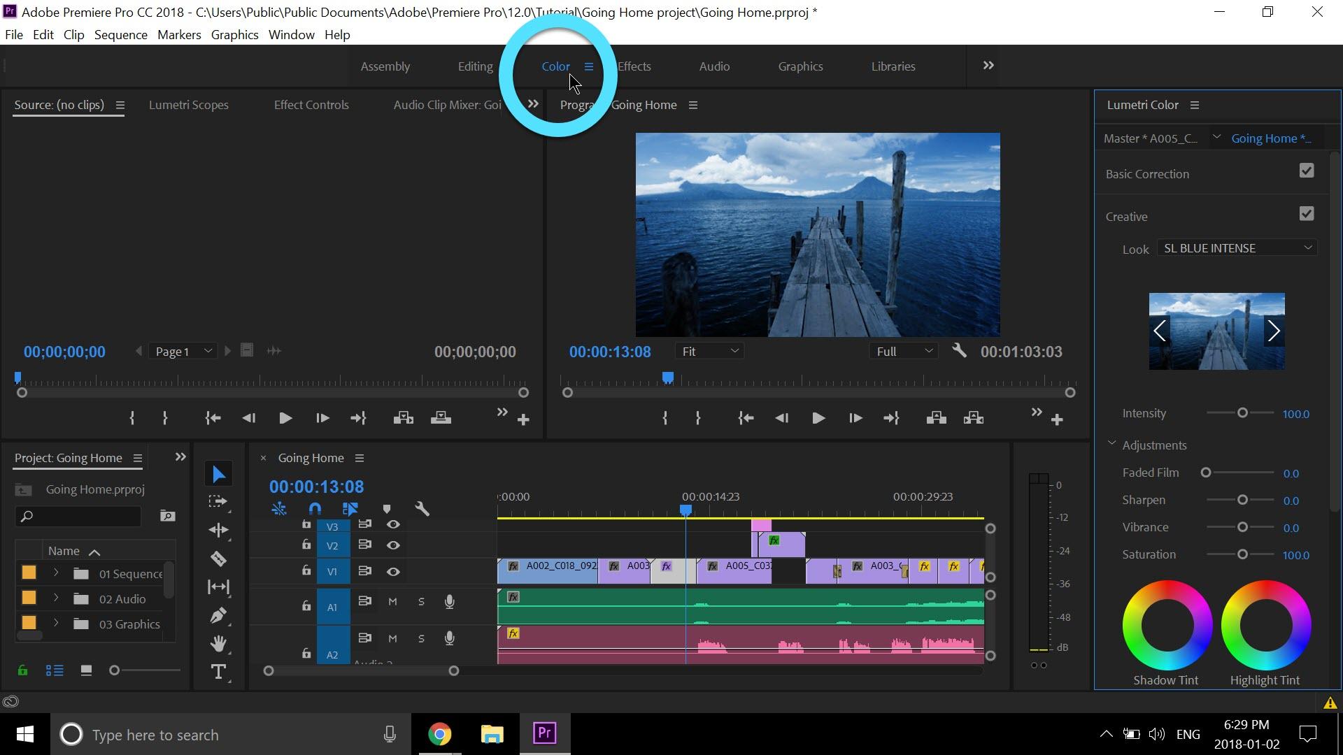 Premiere Pro colors menu